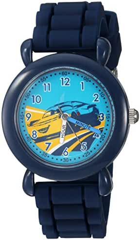 Disney Boy's 'Cars 3' Quartz Plastic and Silicone Casual Watch, Color:Blue (Model: WDS000301)